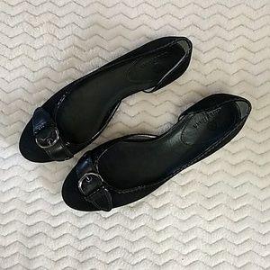 Cole Haan Very Low Suede Kitten Heels Black
